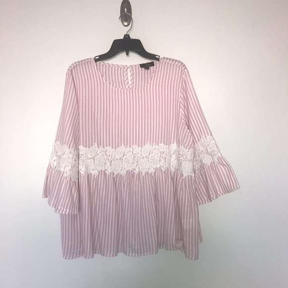 White & Pink Stripe Lace Baby Doll Top